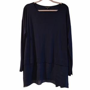 Eileen Fisher Navy silk long sleeve tunic blouse